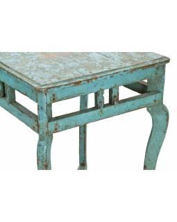 Stolička z teakového dřeva, tyrkysová patina, 44x42x62cm