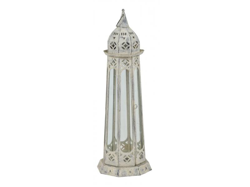 Lucerna, kovová, bílý antik, osmiboká, 65cm, prům. 22cm