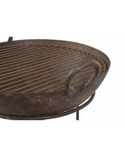 """Kovová mísa/ohniště """"Kadai"""" s roštem na stojanu, 52x52x64cm"""