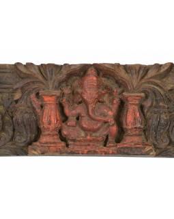 Starý dřevěný portál, Ganéš, ručně vyřezávaný, 77x5x17cm