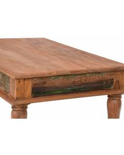 Konferenční stolek z teakového dřeva, ruční řezby, 122x75x45cm