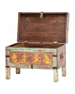 Truhla z mangového dřeva zdobená ručními kresbami, Ganéš, 61x35x47cm
