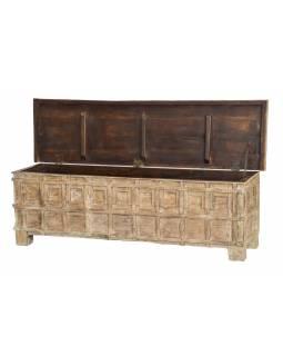 Starožítná truhla z teakového dřeva, bílá patina, 153x42x46cm