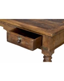 Starožitný psací stůl z teakového dřeva, 120x60x76cm