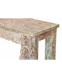 Konzolový stolek z mangového dřeva, bílá patina, 144x41x79cm