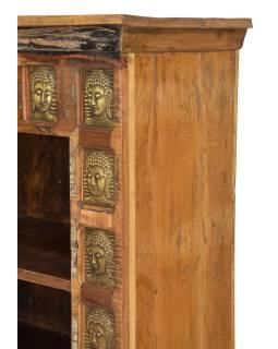 Knihovna z teakového dřeva zdobená reliéfy Buddhů, 90x40x150cm