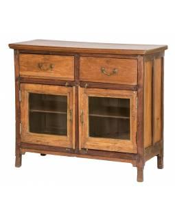 Prosklená skříňka z teakového dřeva, 102x45x90cm