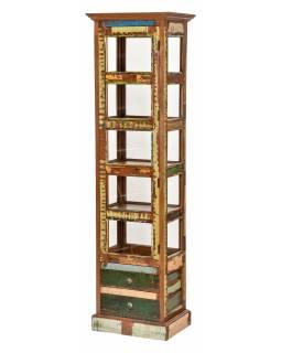 """Prosklená skříňka v """"GOA"""" stylu z teakového dřeva, 50x40x180cm"""
