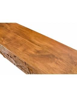Komoda z mangového dřeva, ručně vyřezávaná dvířka, 180x43x69cm