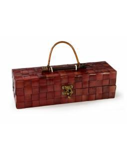 Ratanová krabice na víno, červená, 35x10x10cm