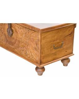 Truhla z mangového dřeva zdobená ručními řezbami, 88x43x45cm