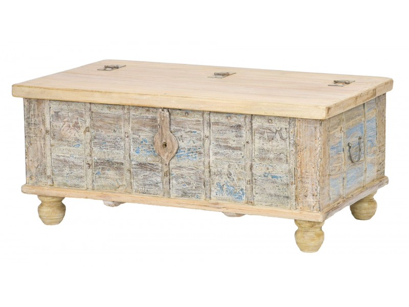Truhla z teakového dřeva, bílá patina, 106x62x46cm