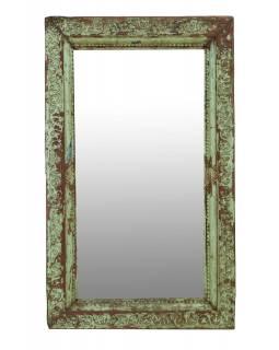 Zrcadlo v rámu z teakového dřeva, ručně vyřezávané, zelená patina, 73x9x124cm