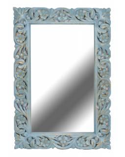 Ručně vyřezávané zrcadlo z mangového dřeva, tyrkysová patina, 60x4x90cm