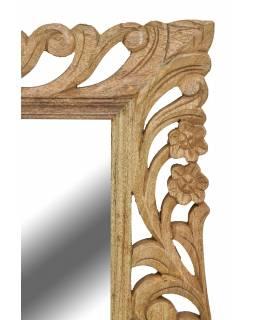 Zrcadlo ve vyřezávaném rámu, přírodní úprava, mango, 60x4x90cm