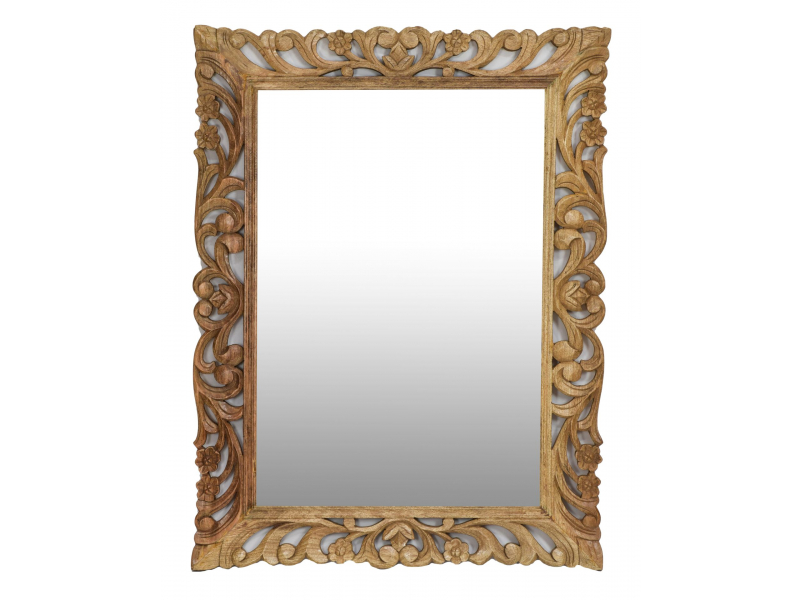 Zrcadlo ve vyřezávaném rámu, přírodní úprava, mango, 90x4x120cm