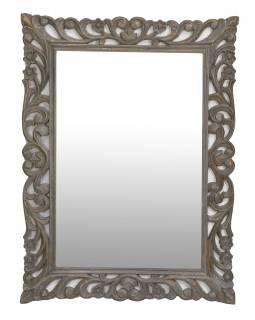 Zrcadlo ve vyřezávaném rámu, šedá patina, mango, 60x4x90cm