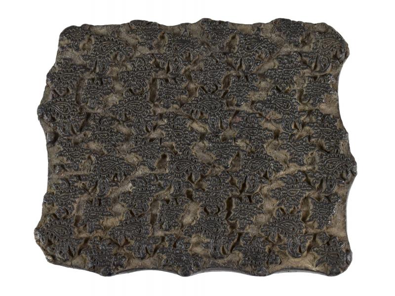 Staré razítko na textil vyřezané z mangového dřeva, květinový motiv, 13x13x7cm