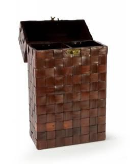 Ratanová krabice na 2 lahve vína, tmavá, 20x10x36cm