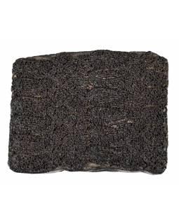 Staré razítko na textil vyřezané z mangového dřeva, květinový motiv, 12x12x7cm