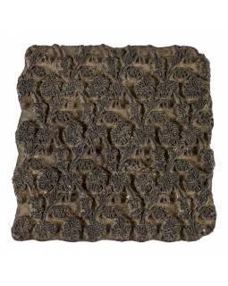 Staré razítko na textil vyřezané z mangového dřeva, květinový motiv, 15x15x8cm