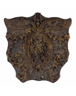 Staré razítko na textil vyřezané z mangového dřeva, květinový motiv, 15x16x7cm