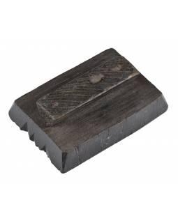 Staré razítko na textil vyřezané z mangového dřeva, květinový motiv, 14x10x5cm