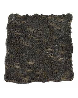 Staré razítko na textil vyřezané z mangového dřeva, květinový motiv, 16x15x8cm