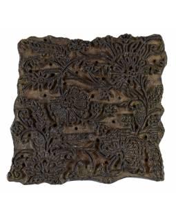Staré razítko na textil vyřezané z mangového dřeva, květinový motiv, 16x16x8cm