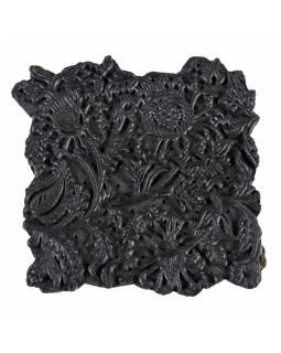 Staré razítko na textil vyřezané z mangového dřeva, květinový motiv, 17x17x8cm