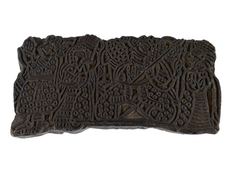 Staré razítko na textil z mangového dřeva, figury, 16x8x6cm