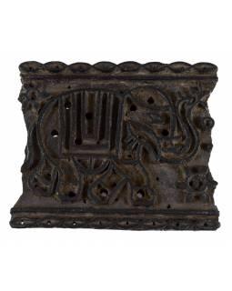 Staré razítko na textil z mangového dřeva, slon, 20x16x7cm