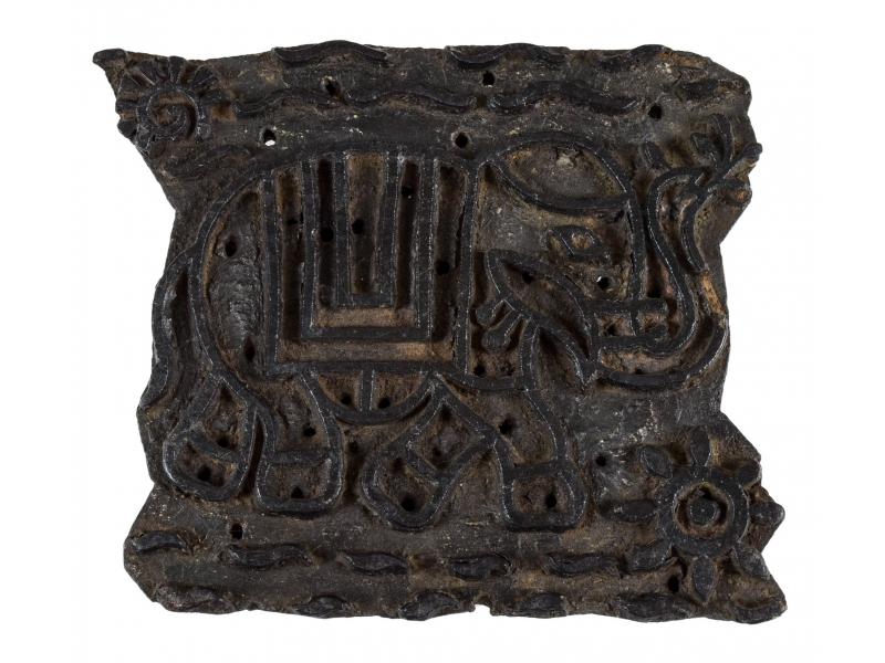 Staré razítko na textil z mangového dřeva, slon, 20x17x8cm