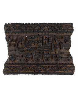 Staré razítko na textil z mangového dřeva, slon, 20x15x7cm