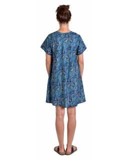 Krátké šaty s krátkým rukávem, modro-béžové s paisley potiskem