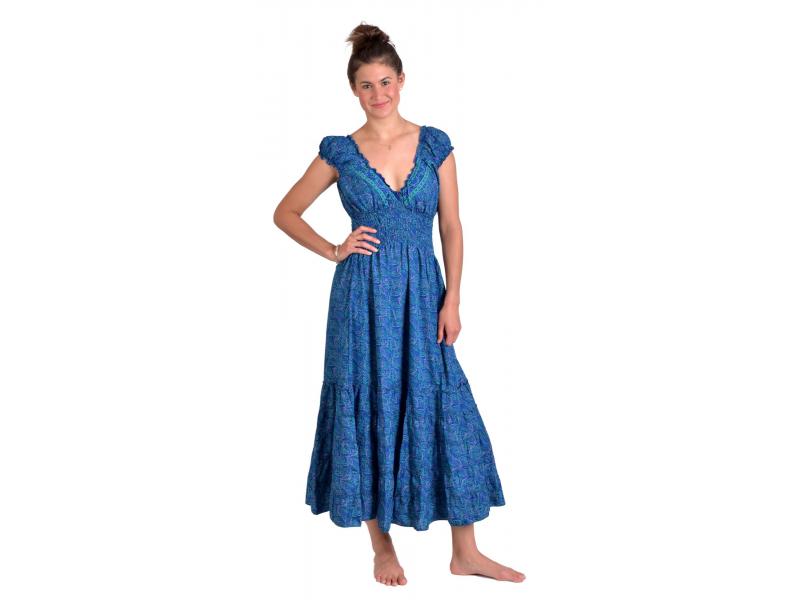 Dlouhé šaty, balónový rukávek, tmavě modré s drobným paisley potiskem