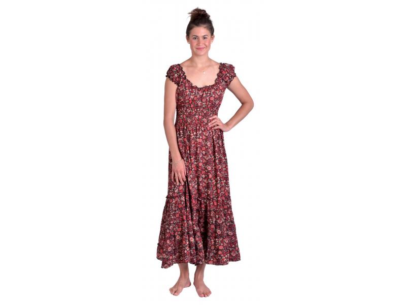 Dlouhé šaty, balónový rukávek, černé s červeným potiskem květin