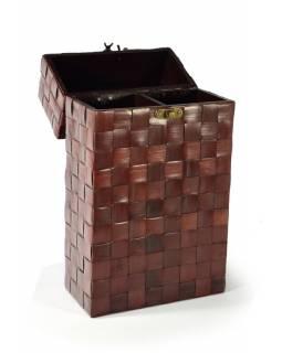 Ratanová krabice na 2 lahve vína s uchem, 20x10x36cm