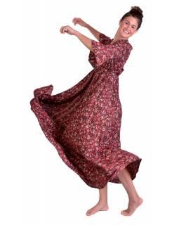 Dlouhé šaty s 3/4 rukávem, černé s červeným potiskem květin, volán