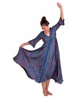 Dlouhé šaty s 3/4 rukávem, fialovo-růžové s drobným paisley potiskem