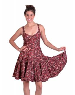 Krátké šaty na ramínka, černé s červeným potiskem květin, volán