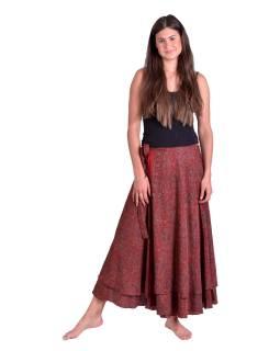 Dlouhá letní zavinovací sukně, červeno-hnědá s drobným paisley potiskem