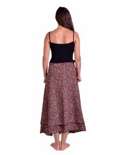 Dlouhá letní zavinovací sukně, černo-vínová s drobným paisley potiskem
