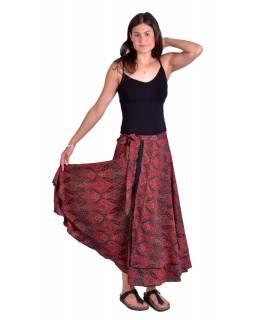 Dlouhá letní zavinovací sukně, červeno-černá s drobným paisley potiskem