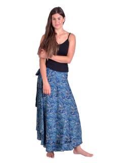 Dlouhá letní zavinovací sukně, modro-béžová s paisley potiskem