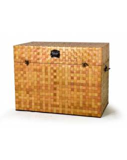 Truhla z teakového dřeva , ratan z palmových listů, 82x42x62cm