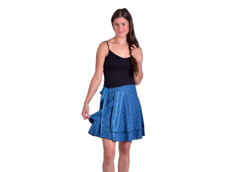 Krátká letní zavinovací sukně, modro-tyrkysová s drobným potiskem květin