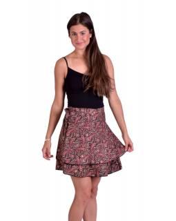 Krátká letní zavinovací sukně, černo-vínová s drobným paisley potiskem
