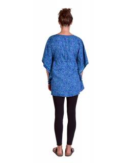 Halenka-tunika, modrá s tyrkysovým paisley potiskem, šňůrka na stažení