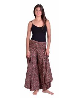 Pohodlné volné kalhoty, široké nohavice, černo-vínové s drobným paisley potiskem